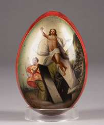EASTER EGG WITH THE RESURRECTION OF CHRIST AND ARCHITECTURAL VIEW Russia