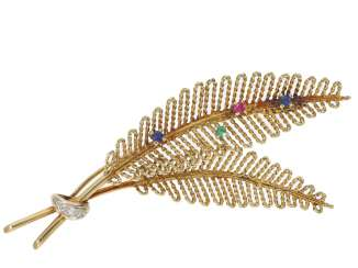 Brooch: fine vintage gold-wrought brooch with color stones and diamonds,