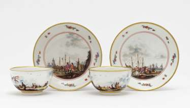 Two cups with lower shells, Meissen, around 1735/1740