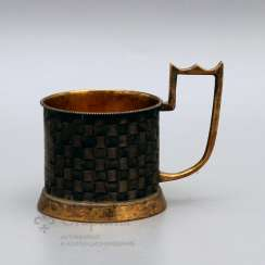 Cup holder with imitation of braiding from birch bark, Russia, 1883, silver 84 samples