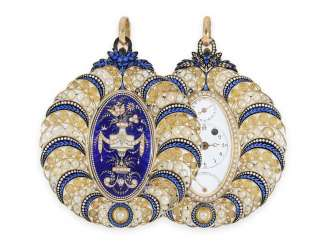 Pocket watch/Halsuhr: unique and extremely rare Gold/enamel Halsuhr with Orient pearl trim and date (only 2 copies are known to us), Bordier Geneve, CA. 1790
