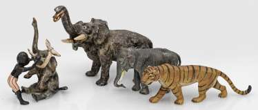 Four Viennese bronzes with exotic animals