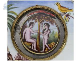 Pocket watch: extremely rare Spindeluhr with enamel-painting, and Adam & Eva machine according to the Patent of Rigonaud, CA. 1800