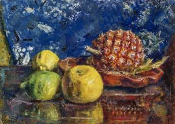 Still life with pineapple and lemon