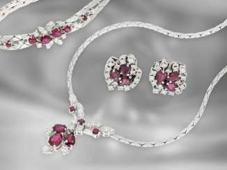 Chain / necklace / earrings / bracelet: fine, white gold vintage jewelry set, 14K white gold, ruby & diamonds, approx. 7.3 ct