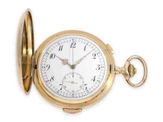 Pocket watch: very large and heavy gold savonnette with Repetition and Chronograph, Switzerland CA. 1900