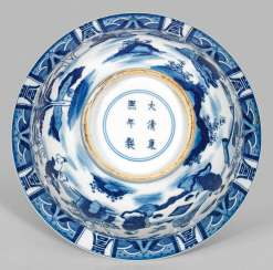 Blue and white bowl with figural scenes