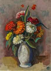 Still Strauss life with Zinnias in a Vase