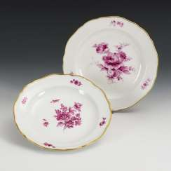 2 plates with purple painting
