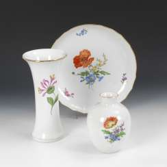 2 vases and bowl with flower painting, MEISSEN