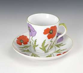 Art Nouveau Cup and saucer with poppies decor, S