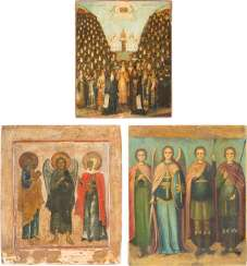 THREE ICONS: ICON OF THE SYNAXIS OF THE SAINTS FROM THE KIEV CAVE MONASTERY AND TWO PATRONAGE-ICONS