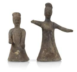 Pair Of Clay Figures Of Two Women,
