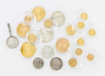 Very nice 21-piece collection of coins and medals in GOLD and SILVER