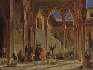 Wilhelm Gail - Dance in the Lion Courtyard of the Alhambra in Granada