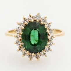 Ring with fine green tourmaline