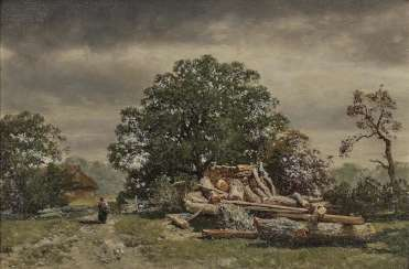Max (August Maximilian) Zimmermann - Tree landscape with brushwood collector