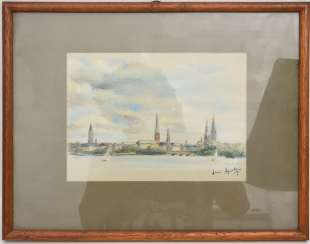 UNKNOWN ARTIST, HAMBURG, pastel chalk on paper, behind glass framed, signed and dated