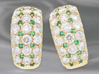 Earrings: mint condition and very valuable emerald/brilliant stud earrings in 18K Gold, fine diamonds of approx. 3,5 ct