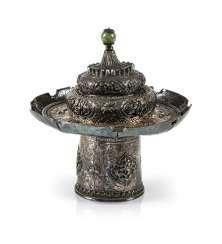 Cup stand and lid made of silver with animals and Buddhist emblems