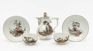 Jug and two cups with saucers Meissen, around 1765