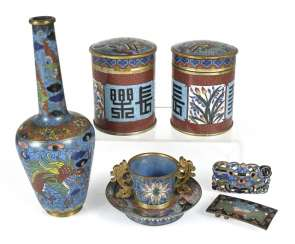 Group of Cloisonné-Work, including two cover cans, Vase, Cup, and Close