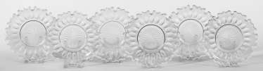 Six Biedermeier crystal glass dessert plates