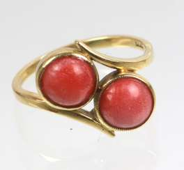 Art Deco Twin Coral Ring Yellow Gold 585