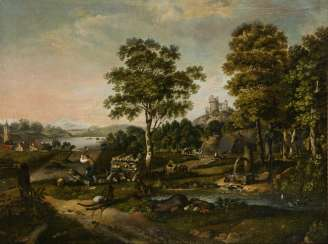 Baroque painter 18th century: lumberjack in a hilly landscape near a ruin