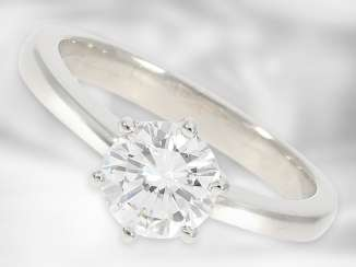 "Ring: valuable solitaire ring from Hofjuwellier Roesner, one-carat in absolute top quality, 1.07ct, ""River"" (D) flawlessly, including DPL certificate from Idar-Oberstein"