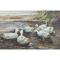 "GERARD, P. (artist 20th century), ""Bank area with seven ducks on the water"","