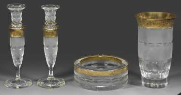 Four glass objects
