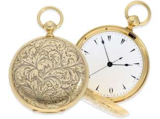 Pocket watch: extremely interesting and very unusual, heavy 18K pomp savonnette with jumping seconds and duplex escapement, Lebet & Fils No. 3512, made for the Ottoman market around 1855