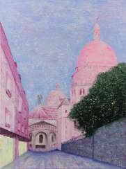 Pink sunset in Montmartre