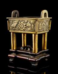 Incense burners made of Bronze in the Form of a 'fishing thing' on hard wood stand