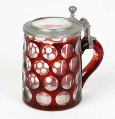 Ruby jug with a glass lid 1880