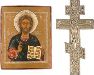 ICON WITH CHRIST PANTOCRATOR AND A BLESSING CROSS