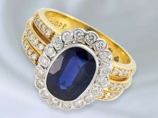 Ring: solid, high-quality and very decorative-made sapphire/brilliant gold wrought ring is made of 18K Gold and 4.65 ct