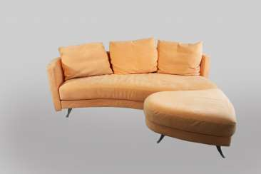 Two Sofas with stool and glass table from Benz and orange Alcantara, good used condition.
