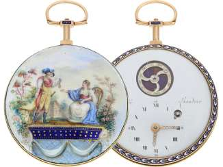 Pocket watch: unusual and extremely large enamel FOB watch with Rococo-painting in the Meissen style, very rare caliber, and visible, with diamonds occupied balance, Patry & Chaudoir Geneve No. 1069, CA. 1780