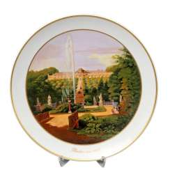 KPM BERLIN landscape plate with a view of Schloß Sanssouci, 20.Century., 1.Choice