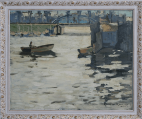 Barges on the river.Altman, Alexander