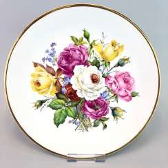 Institutional / Wall Is Adorned With Plates: Meissen Porcelain. Decor Old Flowers Painting. Gold, very good.