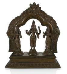 Triad Bronze with depictions of Vishnu, Shridevi and Bhudevi