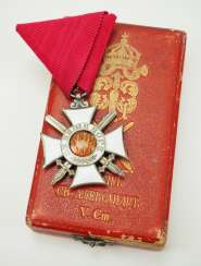 Bulgaria: Order of St. Alexander, 3rd model, 1st type (1898-1918), 5th grade with swords, in a case.