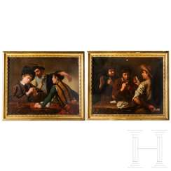 A pair of old masters paintings - The Cardsharps, Italy, 17th century