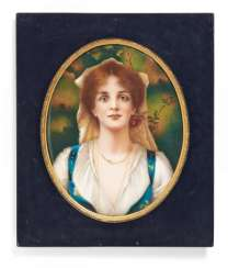 OVAL PORCELAIN PAINTING PORTRAIT OF A YOUNG WOMAN. KPM. Berlin. sign. 'After C. Kiesel, and L. Schinzel'.