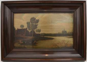 Water landscape WITH rowing boat, Dutch school 17. CENTURY, Oil on wood, framed.