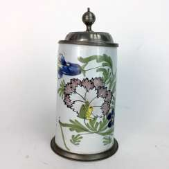 Faience roll jug with original pewter lid and a pewter ring, Schrezheim, around 1780, engraved, very beautiful.