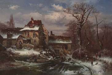 Veit, Hugo. Winter landscape with farmhouse and figure staffage